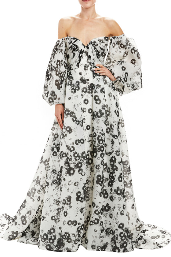 Off The Shoulder Puff Sleeve Gown