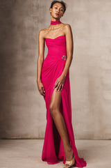 Strapless Draped Chiffon Gown