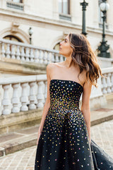 Embroidered High-Low Gown