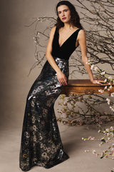 Velour Sequin V-Neck Gown