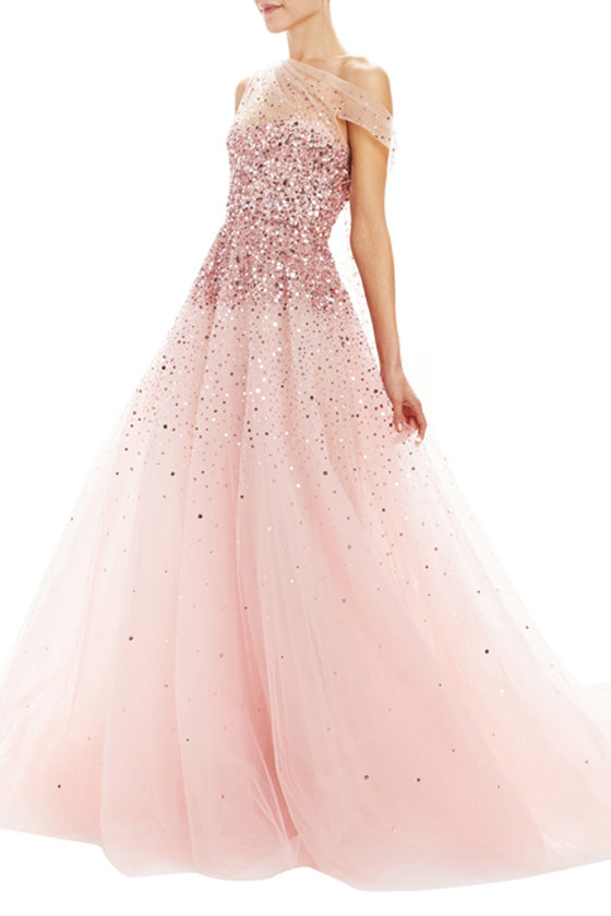 Embroidered Draped Bodice Ball Gown