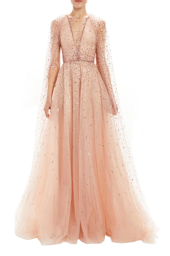 Embroidered Gown With Detachable Cape