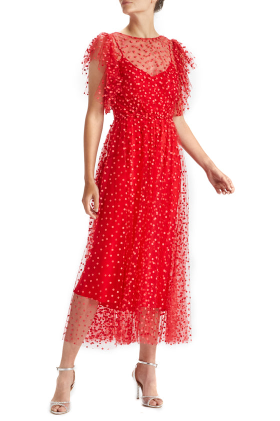 Scarlet Dotted Tulle Dress