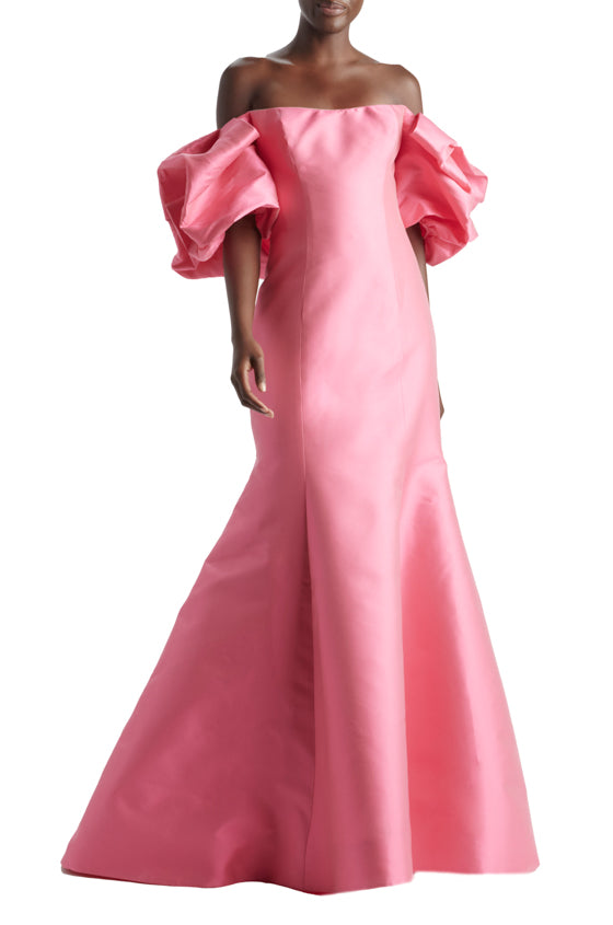 Puff Sleeve Off Shoulder Gown
