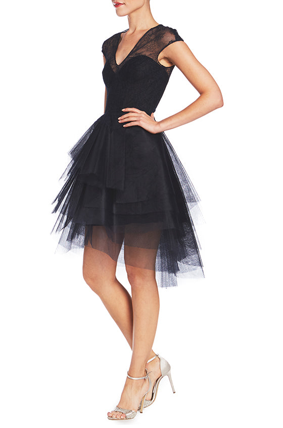 Cap Sleeve Dress With Tier Skirt - moniquelhuillier