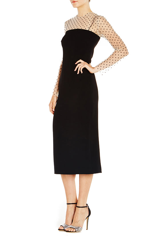 Dotted Tulle Sleeve Dress - moniquelhuillier