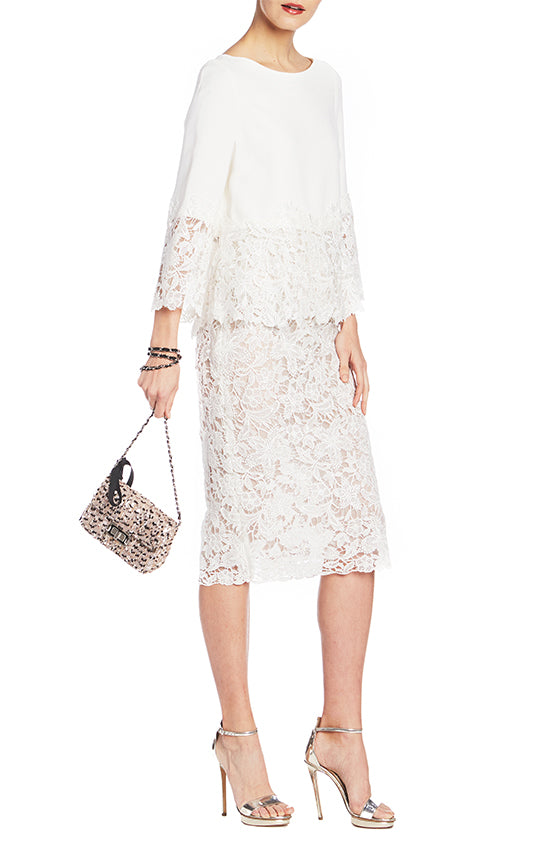 Guipure Lace Pencil Skirt - moniquelhuillier