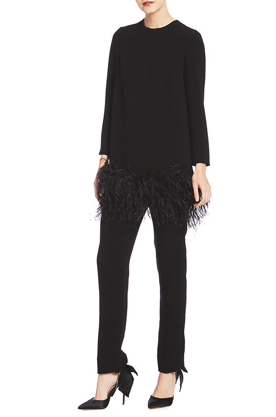 Long Sleeve Tunic With Feather Trim - moniquelhuillier