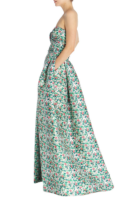 Green Floral Skirt Monique Lhuillier