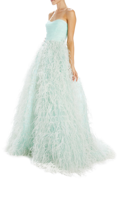Strapless Draped Feather Ball Gown