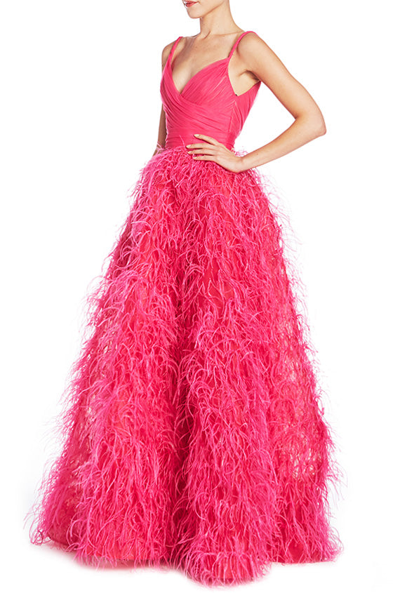 Draped Bodice Feather Gown