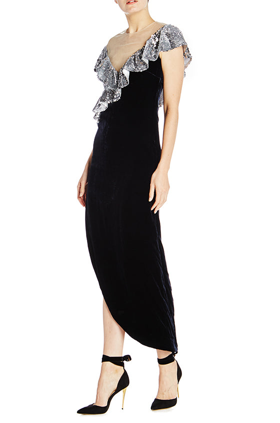 Column Gown With Asymmetrical Neckline - moniquelhuillier