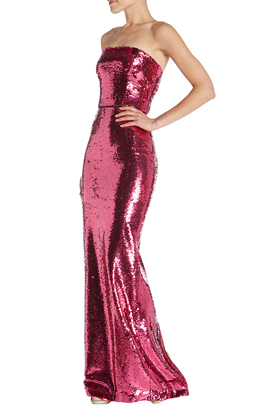 Strapless Sequin Gown - moniquelhuillier