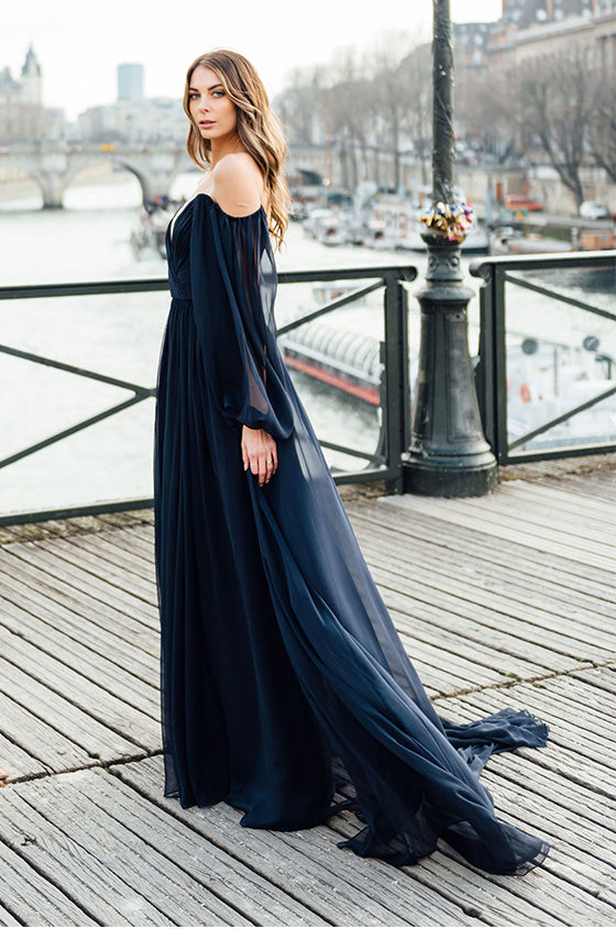Off The Shoulder Navy Gown