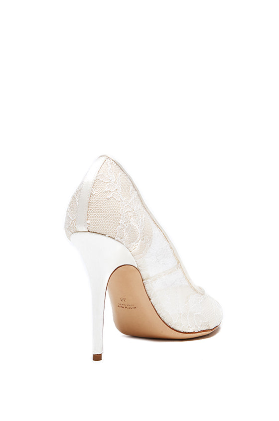 Adriana Lace Peep Toe Pump - moniquelhuillier