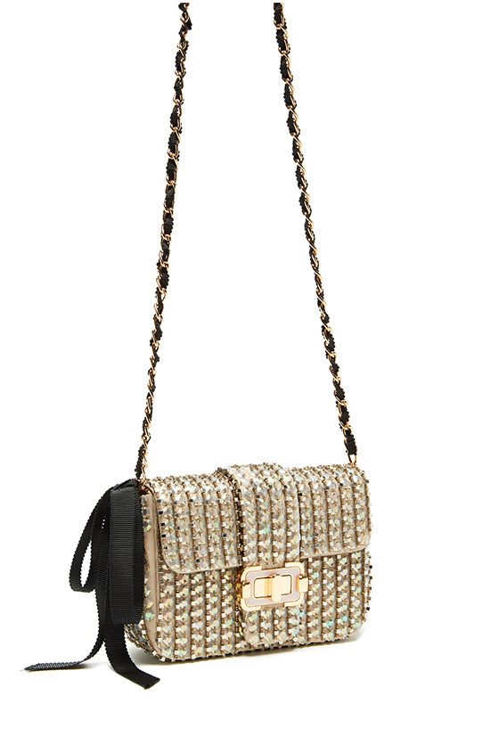 Iridescent opal sequin flap-front shoulder bag