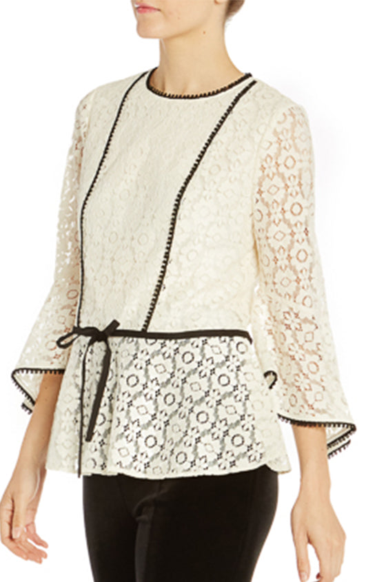ML Monique Lhuillier Lace Top With Ruffle Sleeve