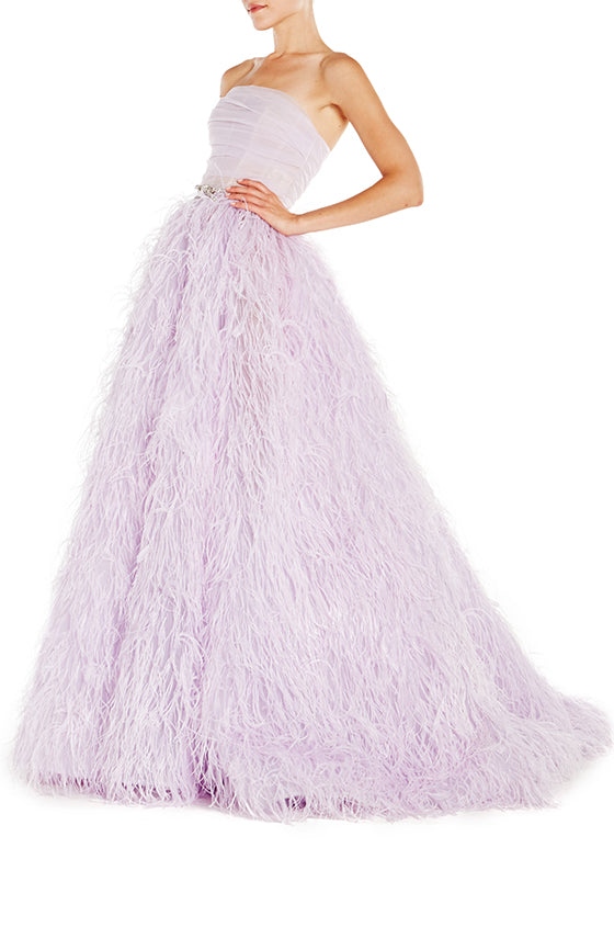 Strapless Gown With Feather Ball Skirt - moniquelhuillier