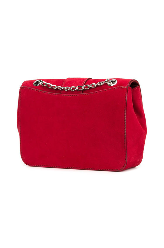 Red suede front flap medium handbag with silver chain