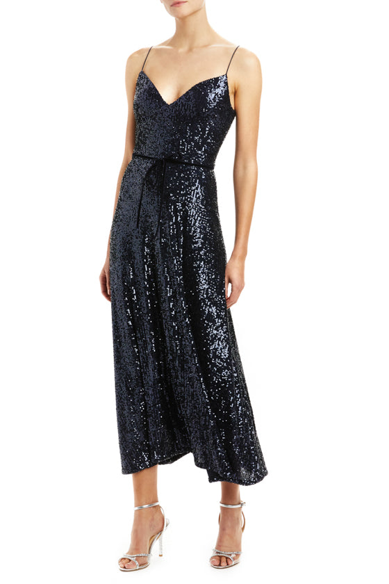 Navy Sequin Midi Slip Dress