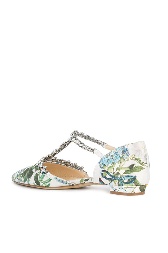 Botanical Print Flat With Crystal T Strap