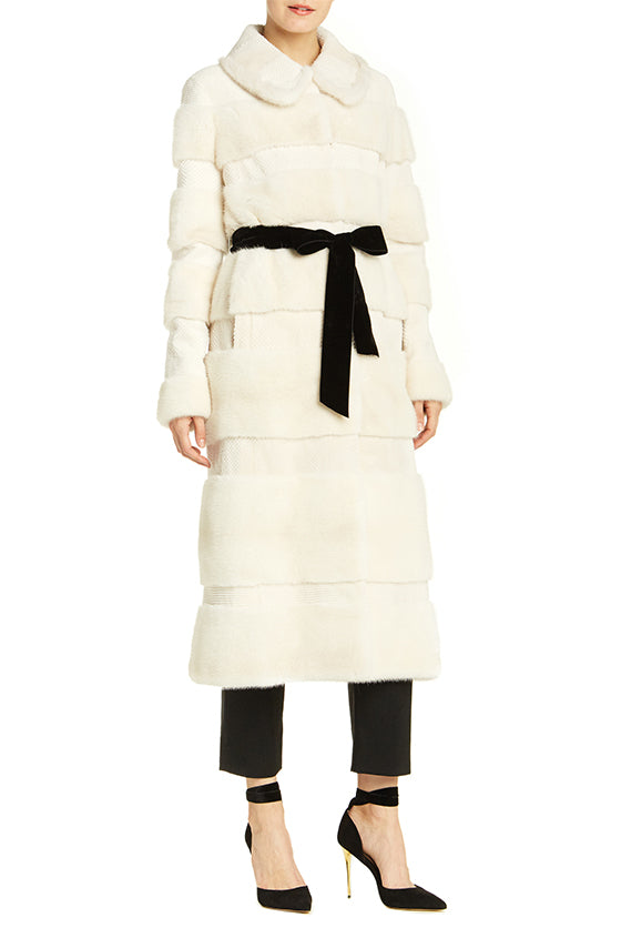 Mink Coat With Velvet Belt - moniquelhuillier