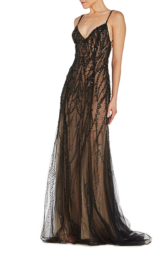 Black beaded tulle gown