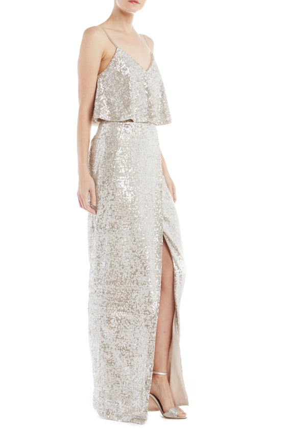 ML Monique Lhuillier Sequin Gown