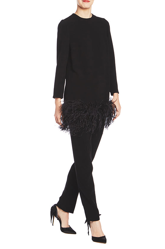 Long Sleeve Tunic With Feather Trim