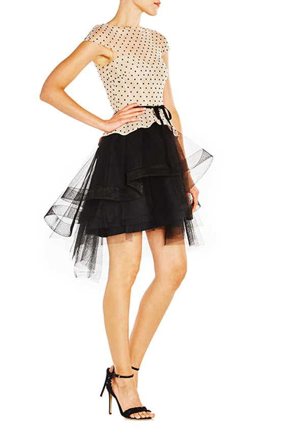 Dotted Dress With Tiered Skirt - moniquelhuillier