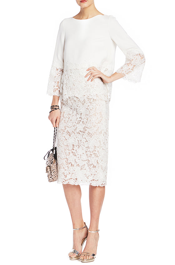 White Lace Top Monique Lhuillier