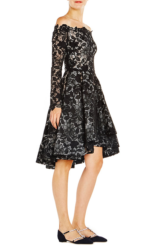 Off the Shoulder Guipure Lace Dress - moniquelhuillier