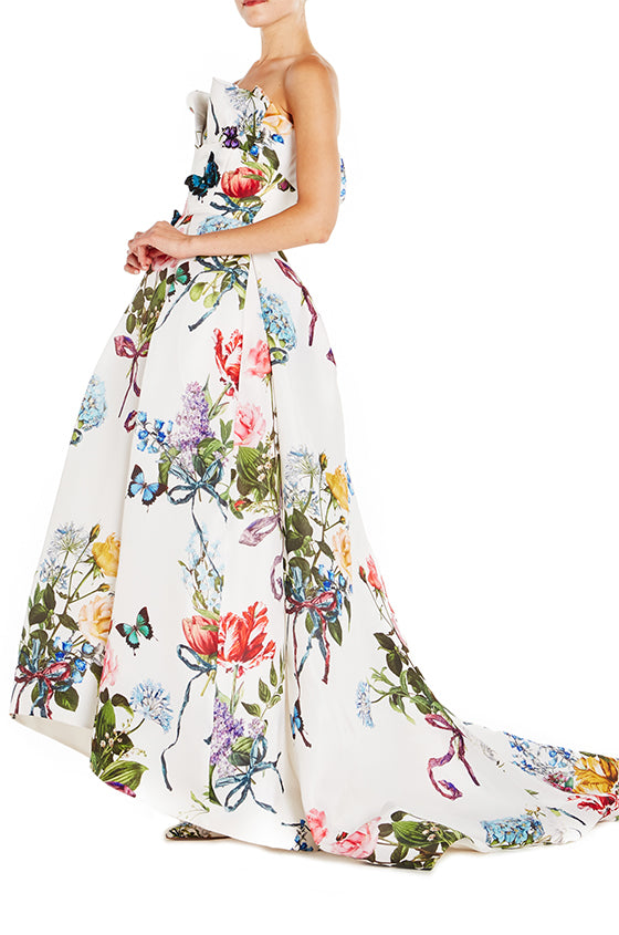 Botanical Print High-Low Gown - moniquelhuillier