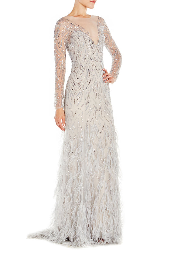Illusion Gown With Feather Skirt - moniquelhuillier