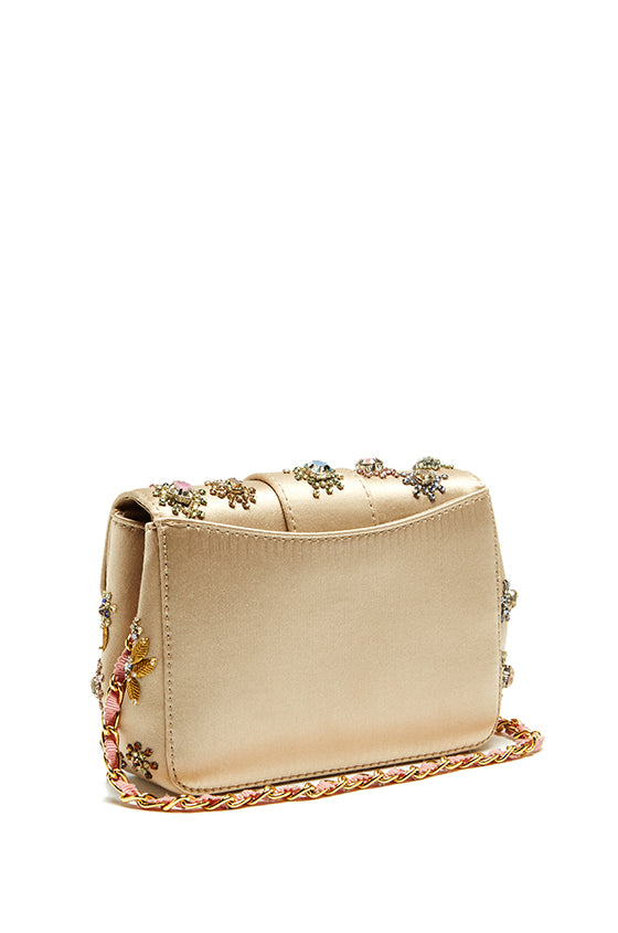 Satin Embroidered Shoulder Bag - moniquelhuillier