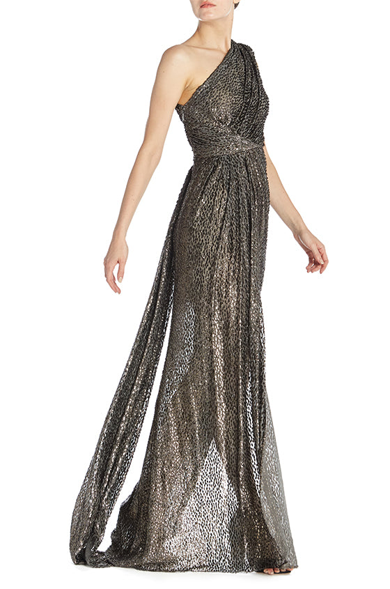 One Shoulder Draped Gown-FINAL SALE
