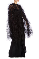 Ostrich Feather Embroidered Cape - moniquelhuillier