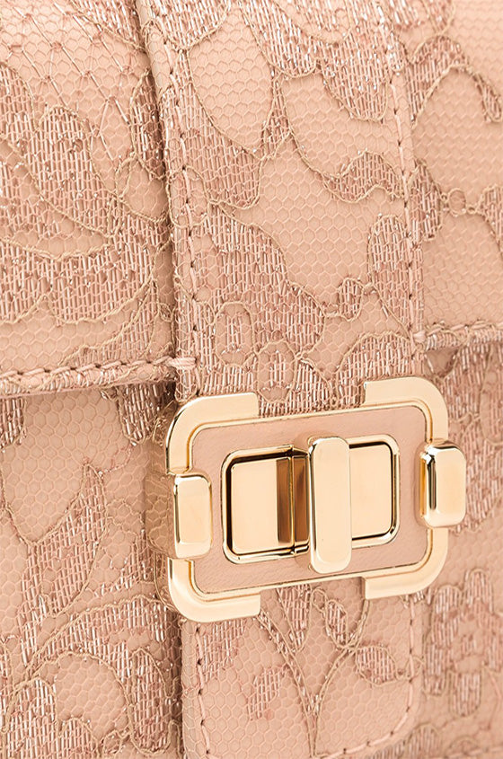 Monique Lhuillier pink lace handbag