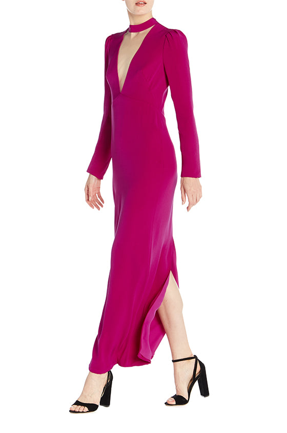 Long Sleeve Column Gown- FINAL SALE