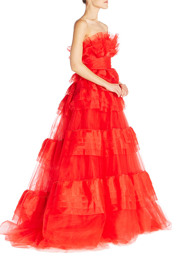 Strapless Tiered Ball Gown