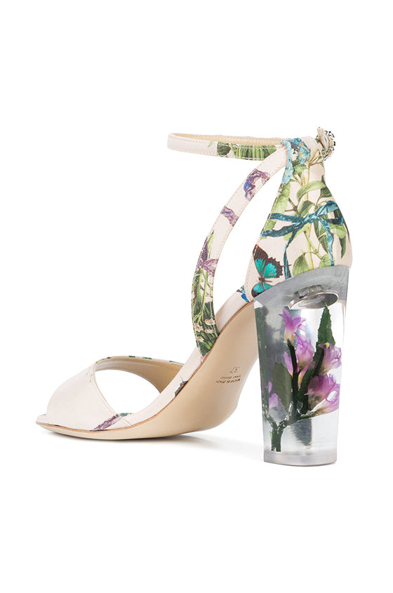 Floral Print Sandal with Lucite Heel