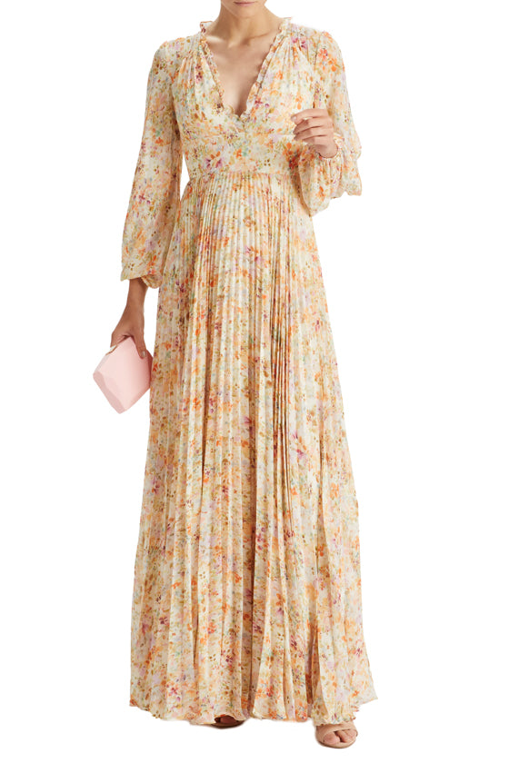 V-Neck Pleated Garden Print Gown