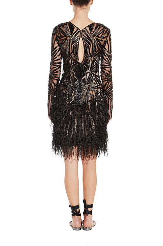 Deco Ostrich Feather Dress - moniquelhuillier