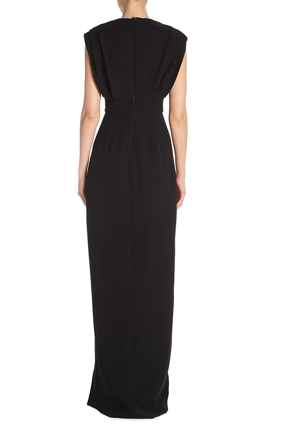 V-Neck Column Gown - moniquelhuillier