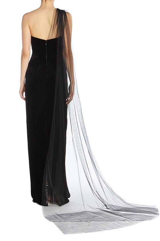 One Shoulder Velvet Column Gown - moniquelhuillier
