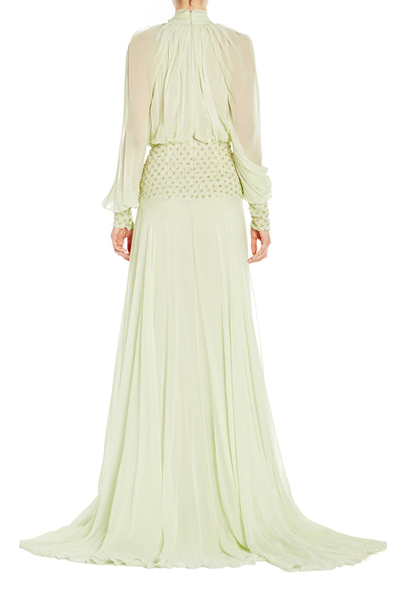 Draped Long Sleeve Gown - moniquelhuillier
