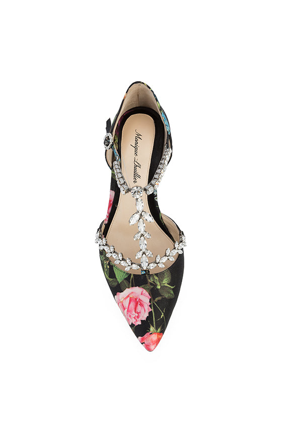 Botanical pointed toe flat with adjustable ankle strap