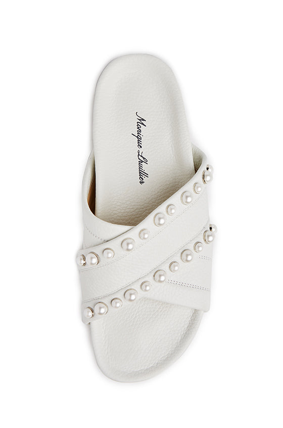 Ariana Embroidered Slide - moniquelhuillier