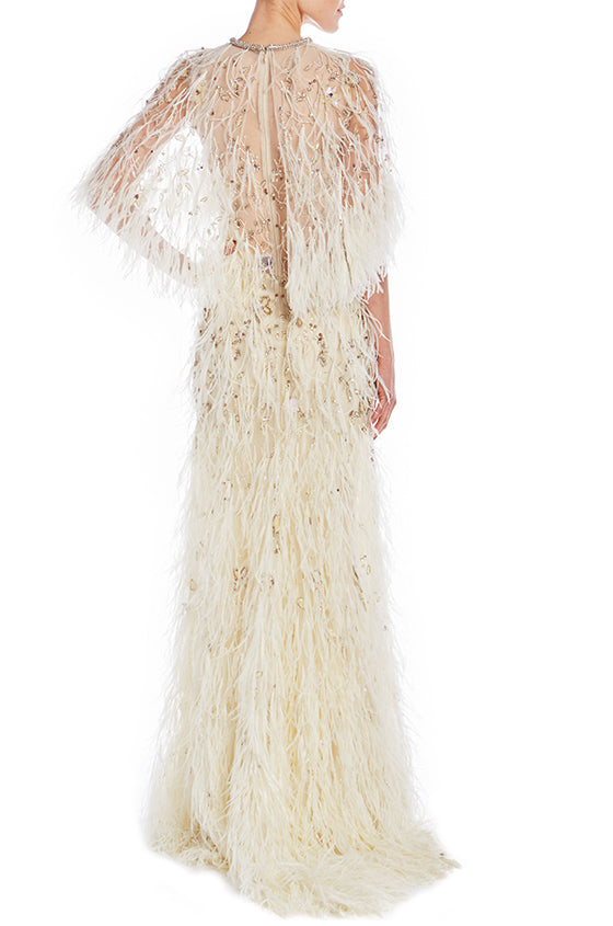 Gown With Feather Embroidery - moniquelhuillier