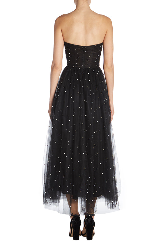 Strapless Tea Length Dress - moniquelhuillier